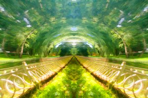Spheric summer park illustration background