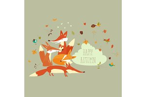 Cute forest foxes with autumn leaves