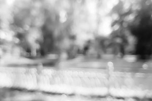 Horizontal black and white park bokeh background