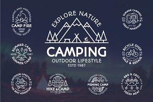 Camping emblem set