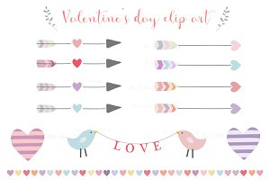 Arrows and hearts love clip art