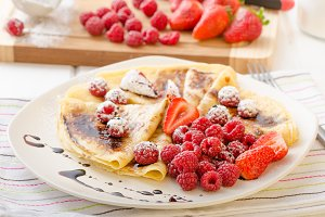 Pancakes with homemade balsamic reduction and fresh fruit
