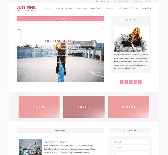 Just Pink WordPress Blog Template