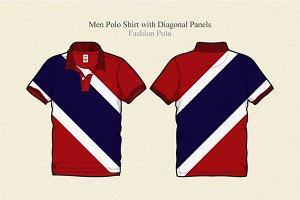 Men Polo Shirt with Diagonal Panels