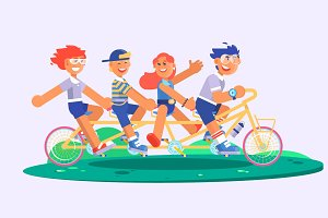 Family tandem bicycle cartoon concept with parents son and daughter. vector illustration