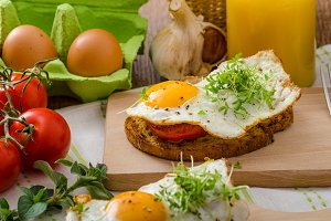 Healthy dinner panini toast, egg and vegetable
