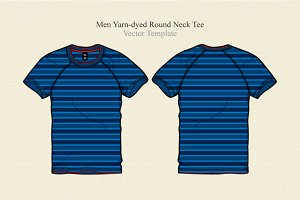 Men Yarn-dyed Round Neck Tee