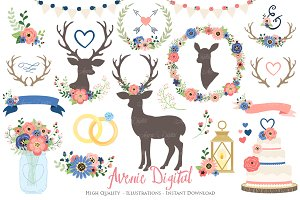 Coral & Navy Rustic Wedding Clipart