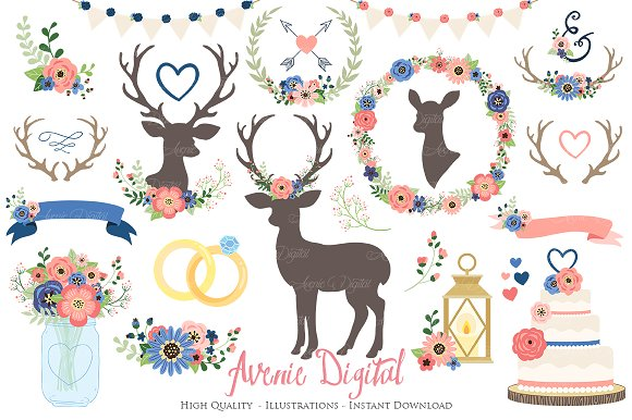 Coral Navy Rustic Wedding Clipart