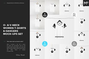 O-&V-neck Women T-shirt Mock-ups Set