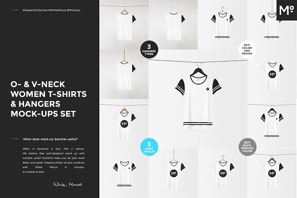 O- V-neck Women T-shirt Mock-ups Set