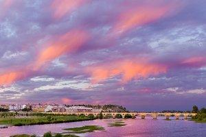 Badajoz at sunset