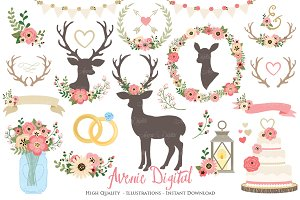 Vintage Pink Rustic Wedding Clipart
