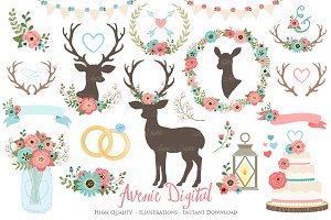 Red and Teal Rustic Wedding Clipart