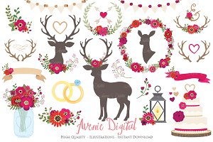 Red Rustic Wedding Clipart