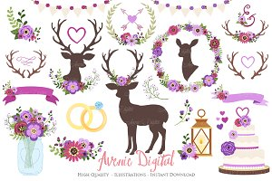 Purple Rustic Wedding Clipart