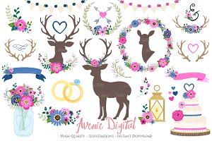 Pink and Navy Rustic Wedding Clipart