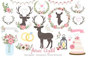 Pink and Gray Rustic Wedding Clipart