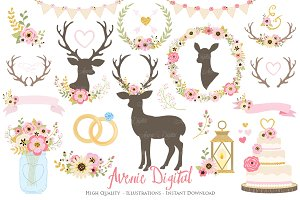 Pink & Gold Rustic Wedding Clipart
