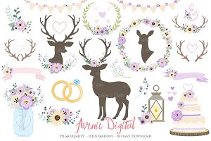 Lilac Rustic Wedding Clipart