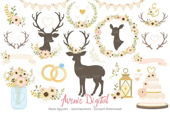 Ivory Gold Rustic Wedding Clipart