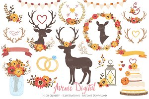Fall Rustic Wedding Clipart