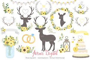 Yellow & Grey Rustic Wedding Clipart