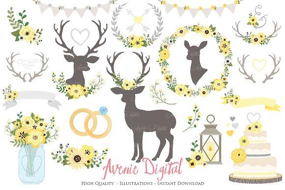 Yellow Grey Rustic Wedding Clipart