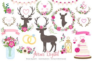 Hot Pink Rustic Wedding Clipart
