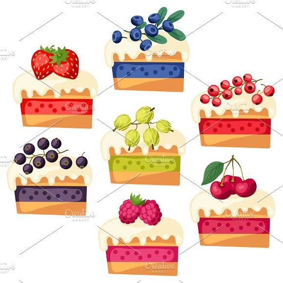 Set of cakes with various filling.