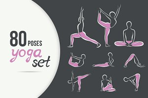 80 artistic YOGA poses SET (dark BG)