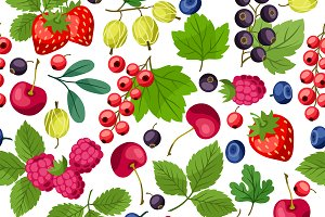 Seamless patterns with berries.