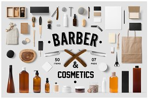 Barber & Cosmetics Branding Mock-Up