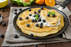 Healthy chia pancakes with blueberries