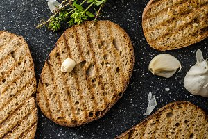 Toasts bread panini with garlic