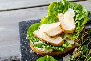 Ceasar salad on panini toast