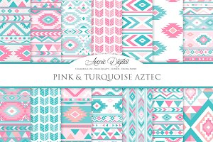 Pink & Teal Aztec Digital Paper