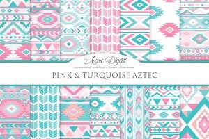 Pink & Teal Aztec Digital Paper