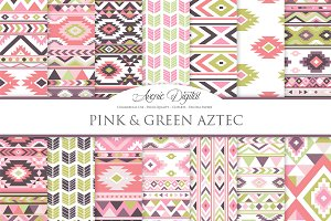 Pink and Green Aztec Digital Paper