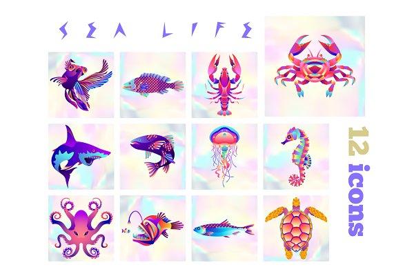 12 fish & sea life icons