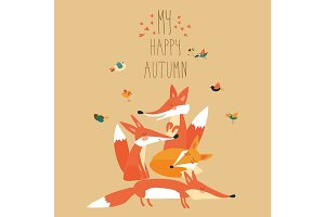 Cute foxes with birds