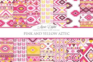 Pink and Yellow Aztec Digital Paper