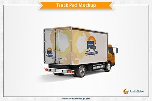 Delivery Truck Psd Mockup
