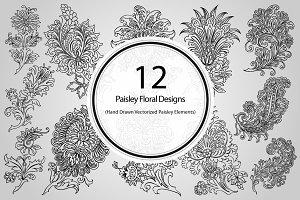 12 Paisley Floral Designs (Vector)