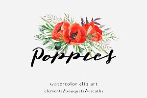 Poppies. Watercolor clip art.