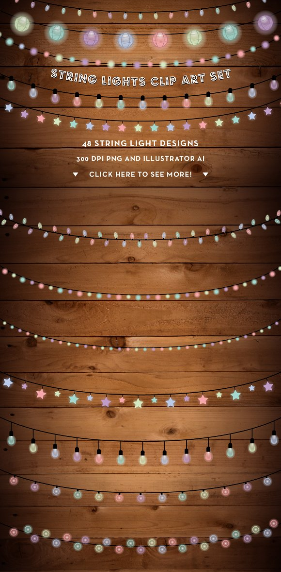 String Lights Clip Art Set PNG AI