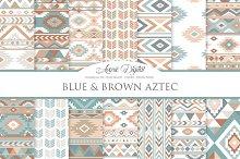 Blue and Brown Aztec Digital Paper