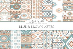 Blue and Brown Aztec Digital Paper