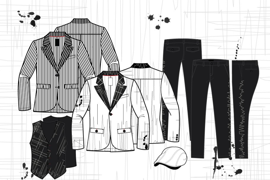 Men Black and White Sport Collection