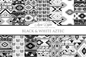 Black and White Aztec Digital Paper